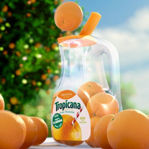 Tropicana 3D CGI orange juice commercial bottle