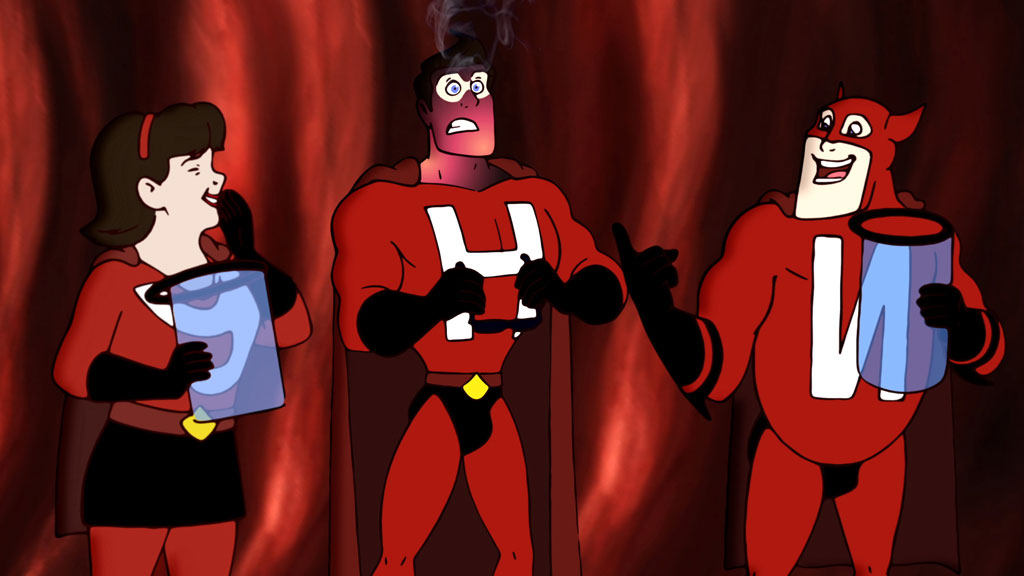 Superhero comic book characters hand drawn animation TV commercial